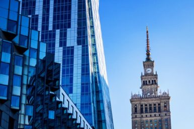 Modern architecture bank financial office tower building in warsaw